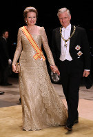 Belgium's King Philippe and Queen Mathilde arrive at the Imperial Palace in Tokyo to attend the Kyoen-no-gi banquet on Oct. 22, 2019. (Mainichi/Junichi Sasaki)