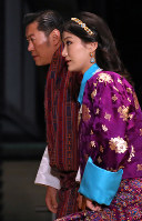 Bhutan's King Jigme Khesar Namgyel Wangchuck and Queen Jetsun Pema arrive at the Imperial Palace in Tokyo to attend the Kyoen-no-gi banquet on Oct. 22, 2019. (Mainichi/Junichi Sasaki)