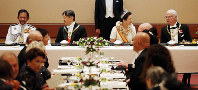 From left at rear, Brunei's King Hassanal Bolkiah, Japan's Emperor Naruhito, Empress Masako, and Sweden's King Carl XVI Gustaf are seen in the Kyoen-no-gi banquet at the Imperial Palace in Tokyo on Oct. 22, 2019. (Pool photo)