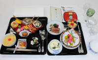 The meal that was served to guests at the Kyoen-no-gi banquet at the Imperial Palace is seen. (Photo courtesy of the Imperial Household Agency)
