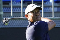 Tiger Woods of the United States watches his tee shot on the 10th hole during the pro-am event of the Zozo Championship PGA Tour at Accordia Golf Narashino C.C. in Inzai, east of Tokyo, Japan, Wednesday, Oct. 23, 2019. (AP Photo/Lee Jin-man)