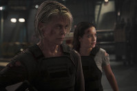 This image released by Paramount Pictures shows Linda Hamilton, left, and Natalia Reyes in