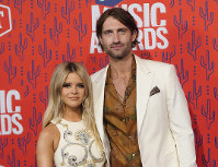 This June 5, 2019 file photo shows Maren Morris and Ryan Hurd at the CMT Music Awards in Nashville, Tenn. (AP Photo/Sanford Myers)