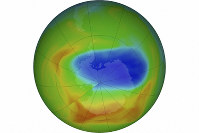 This image made available by NASA shows a map of a hole in the ozone layer over Antarctica on Oct. 20, 2019. The purple and blue colors indicate the least amount of ozone, and the yellows and reds show the most. (Goddard Space Flight Center/NASA via AP)