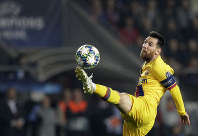 Barcelona's Lionel Messi kicks the ball during the Champions League group F soccer match between Slavia Praha and FC Barcelona at the Sinobo stadium in Prague, Czech Republic, on Oct. 23, 2019. (AP Photo/Petr David Josek)