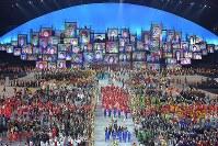 2016 Rio de Janeiro Olympics -- The Japanese delegation receives a warm welcome at the opening ceremony at Maracana Stadium. (Mainichi/Daisuke Wada)