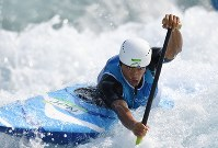 2016 Rio de Janeiro Olympics -- Japan's Takuya Haneda races in a semifinal of the men's Canadian slalom canoe singles on his way to lifting the bronze medal. Haneda's success marked the first time a Japanese athlete had captured a medal in the sport. (Mainichi/Hiroyuki Miura)