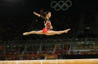 2016 Rio de Janeiro Olympics -- Japan's Asuka Teramoto performs on the balance beam in the final of the individual all-around event in the women's gymnastics. Teramoto finished in eighth place. (Mainichi/Masahiro Ogawa)