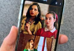 「スナップチャット」が配信するオリジナルドラマで会話を交わす3人の登場人物。スマホ向けに画面が縦に配列されている=福永方人撮影
