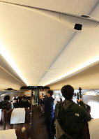 The interior of part of the new N700S model of the Tokaido Shinkansen bullet train's cars is seen with a security camera mounted to the ceiling, at a press event on Oct. 30, 2019. (Mainichi/Katsuyuki Uchibayashi)