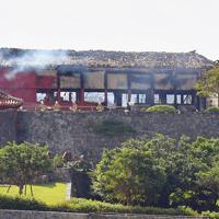 煙をあげて燃え続ける首里城=那覇市で2019年10月31日午前11時12分、森園道子撮影