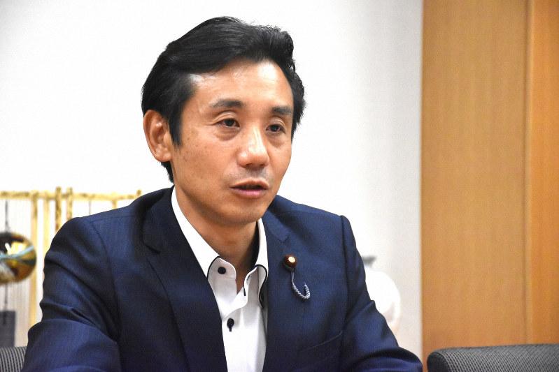 初鹿明博衆院議員=須藤孝撮影