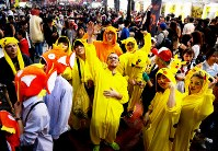 People dressed up as Pikachu, Magikarp and other