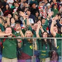 【イングランド―南アフリカ】会場で優勝を喜ぶ南アフリカのファンたち=横浜・日産スタジアムで2019年11月2日、長谷川直亮撮影