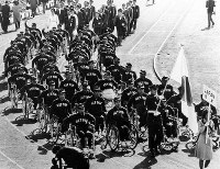 1964 Tokyo Paralympics -- The Japanese delegation parades during the opening ceremony at the Yoyogi National Stadium, 15 days after the end of the Tokyo Olympics. Tokyo was the second city to host the Paralympics following the inaugural event in Rome in 1960. A total of 375 athletes from 21 nations and regions, including 53 from Japan, participated in the seven-day event. Japan won one gold, five silver and four bronze medals.