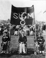 1964 Tokyo Paralympics -- Delegations from countries and regions across the world are seen at the opening ceremony.