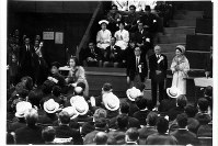 1964 Tokyo Paralympics -- Then Crown Princess Michiko, center right, appears during the closing ceremony to present trophies.