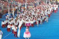 2008 Beijing Paralympics -- The Japanese delegation parades during the opening ceremony. About 4,000 athletes from 147 nations and regions competed in 472 events in 20 sports. Japan won five gold, 14 silver and eight bronze medals. (Mainichi/Yohei Koide)