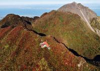 Autumn foliage is seen at its ruddy peak on Mount Unzen in the city of Unzen, Nagasaki Prefecture, on Nov. 5, 2019. (Mainichi/Kimiya Tanabe)