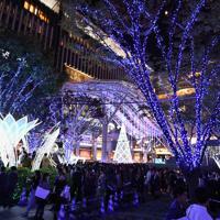 JR博多駅前広場を彩るイルミネーション=福岡市博多区のJR博多駅前で2019年11月6日、上入来尚撮影