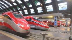 ミラノ中央駅に並ぶ特急列車。フェラーリの故郷だけのことはあるデザイン(写真は筆者撮影)