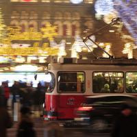 ウィーン市庁舎前ではウィーン最大のクリスマスマーケットが開かれる=オーストリア・ウィーンで2018年12月、大鶴倫宣氏撮影