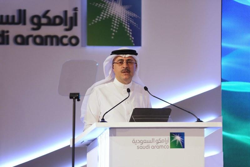 新規株式公開を発表したサウジアラムコのアミン・ナセルCEO=11月3日(Bloomberg)