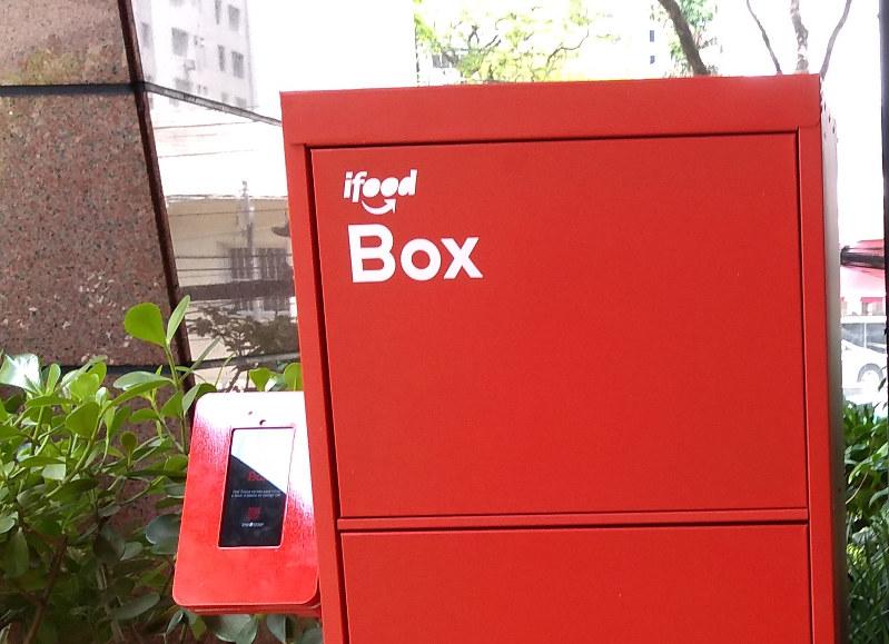 アイフージ社のフードデリバリー用宅配ボックス(筆者撮影)