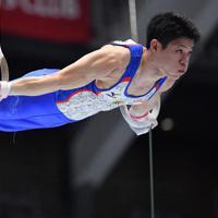 体操男子個人総合でつり輪の演技をする武田一志=高崎アリーナで2019年11月8日、宮間俊樹撮影
