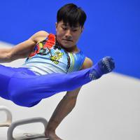 体操男子個人総合であん馬の演技をする北園丈琉=高崎アリーナで2019年11月8日、宮間俊樹撮影
