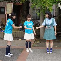 キューピッドガールズはセンターはじゃんけんで決める=東京都墨田区で、米田堅持撮影