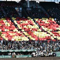 【利根商-PL学園】パネルを掲げ、選手たちを応援するPL学園の応援団=阪神甲子園球場で2019年11月9日、平川義之撮影