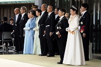 Members of the Imperial Family are seen assembled outside the entrance of the Imperial Palace in Tokyo, ahead of the parade to celebrate Emperor Naruhito's enthronement on Nov. 10, 2019. (Mainichi/Masahiro Ogawa)