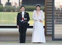 Emperor Naruhito and Empress Masako are seen at the Imperial Palace in Tokyo ahead of the parade to celebrate his enthronement on Nov. 10, 2019. (Mainichi/Junichi Sasaki)