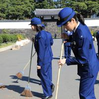 「祝賀御列の儀」を前に桜田門周辺をほうきで掃く警察官=東京都千代田区で2019年11月10日午前11時14分、梅村直承撮影