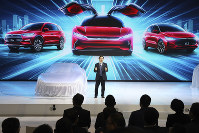 In this April 16, 2019 file photo, Wang Chuanfu, chairman and president of BYD Auto, the biggest global electric brand by sales volume, prepares to show the latest cars during the Auto Shanghai 2019 show in Shanghai. (AP Photo/Ng Han Guan)