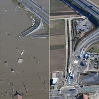 常磐道水戸北スマートインターチェンジ=水戸市で、左は2019年10月13日、右は11月7日、本社ヘリから
