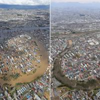 福島県郡山市の市街地。奥は阿武隈川=左は2019年10月13日、右は同年11月7日、本社ヘリから