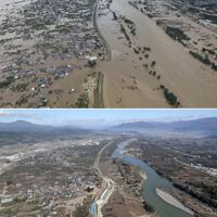 長野市穂保の千曲川堤防が決壊した現場=上は2019年10月13日、下は同年11月5日、本社ヘリから