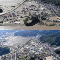 宮城県丸森町の中心部。手前が阿武隈川=上は2019年10月13、下は11月7日、本社ヘリから