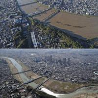 多摩川の丸子橋(手前から2本目)周辺。奥は武蔵小杉のタワーマンション群=手前は東京都大田区、奥は川崎市中原区、上は2019年10月13日、下は同年11月5日、本社ヘリから
