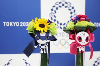 東京五輪・パラリンピックの表彰式でメダリストに贈られる副賞の「ビクトリーブーケ」=東京都中央区で2019年11月12日午後4時44分、玉城達郎撮影