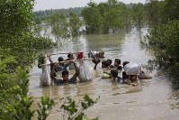 In this Sept. 5, 2017, file photo a Rohingya family reaches the Bangladesh border after crossing a creek of the Naf river on the border with Myanmmar, in Cox's Bazar's Teknaf area. (AP Photo/Bernat Armangue)