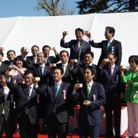 「桜を見る会」で乾杯をする安倍晋三首相(最後列右から2人目)=東京都新宿区の新宿御苑で2019年4月13日、代表撮影