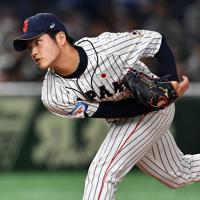 【日本―メキシコ】力投する日本の2番手・甲斐野=東京ドームで2019年11月13日、大西岳彦撮影