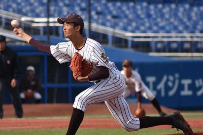 国士舘の中西健登投手=東京都新宿区の神宮球場で2019年11月9日、安田光高撮影