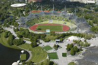 This June 2005 file photo, shows the view from the the Olympic Tower on the Olympic Park with the Olympic Stadium in Munich, Germany. (AP Photo/Uwe Lein)