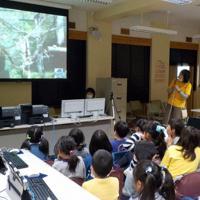 テレビ電話「スカイプ」を使いオランウータンやゾウなどボルネオ島の動物を見る日野市立夢が丘小学校の2年生たち=2015年3月撮影、小俣三佳子さん提供