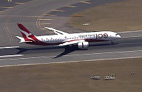 In this image made from video, Qantas Boeing 787 Dreamliner plane lands at Sydney airport in Sydney, on Nov. 15, 2019. (Australia Pool via AP)