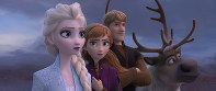 This image released by Disney shows, from left, Elsa, voiced by Idina Menzel; Anna, voiced by Kristen Bell; Kristoff, voiced by Jonathan Groff; and Sven in a scene from